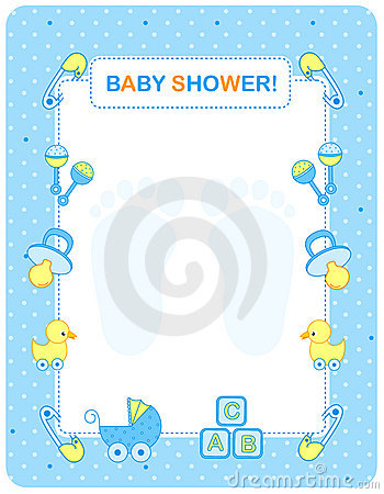 Free Baby Shower Card For Boys Royalty Free Stock Photography - 21618847