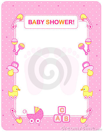 Baby Shower Card For Girls Royalty Free Stock Image - Image: 13820596