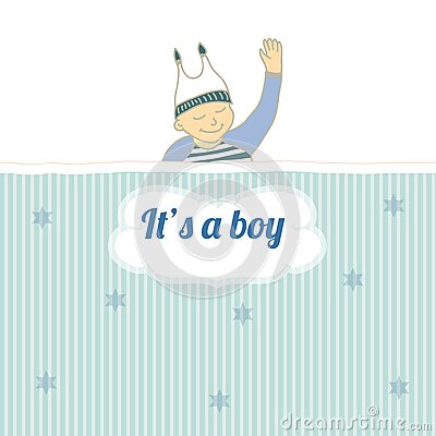 Baby shower card with little boy sleep