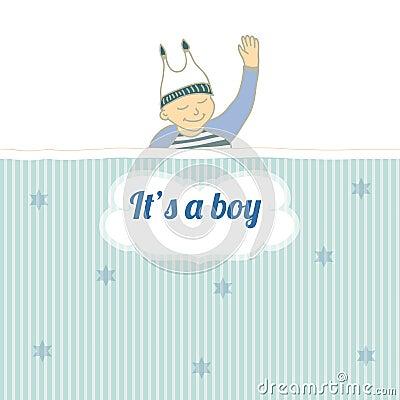 Baby shower card with little boy sleep