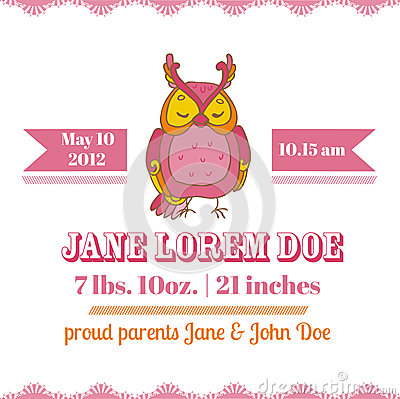 Baby Shower Card - Owl Theme