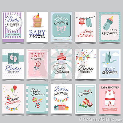 Baby shower card set for boy for girl Happy birthday party its a boy its a girl celebration greeting or invitation card poster Vector Illustration