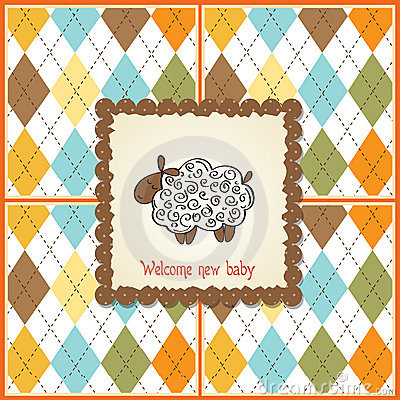 Baby shower card with sheep