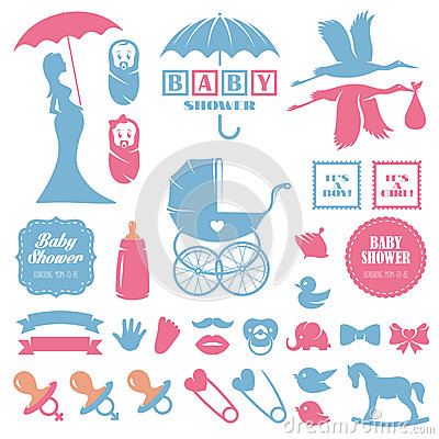 Free Baby Shower Design Elements Vector Set. Pregnancy Stock Photography - 62114692