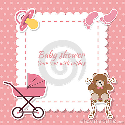 Free Baby Shower Girl, Invitation Card. Place For Text.  Greeting Car Royalty Free Stock Images - 70489059