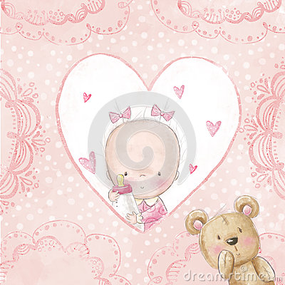 Free Baby Shower Greeting Card.Baby Girl With Teddy,Love Background For Children.Baptism Invitation. Newborn Card Design. Stock Image - 51434401