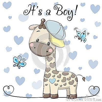 Baby Shower Greeting Card with cute Giraffe boy Vector Illustration