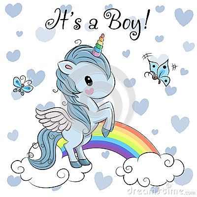 Free Baby Shower Greeting Card With Cute Unicorn Boy Royalty Free Stock Photo - 102212245