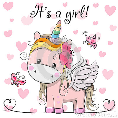 Free Baby Shower Greeting Card With Unicorn Girl Royalty Free Stock Photography - 99206127