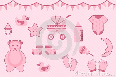 Baby shower greeting with pink color with various objects - vector illustration Stock Photo
