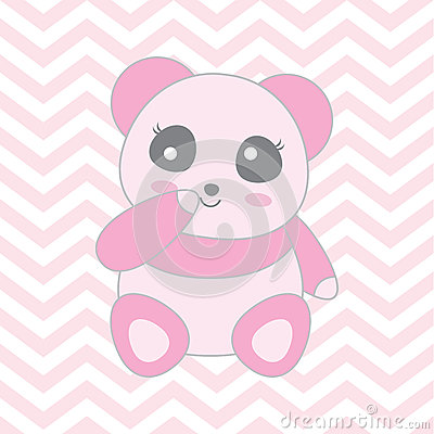 Baby shower illustration with cute baby pink panda on chevron background Vector Illustration