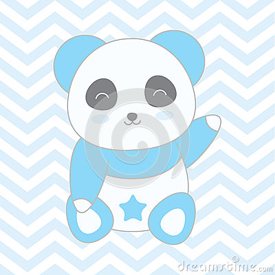 Baby shower illustration with cute blue panda on blue chevron background Vector Illustration