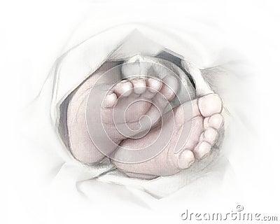 Baby shower invitation tiny feet pencil sketch