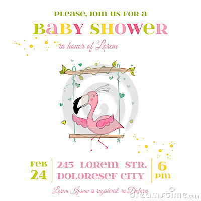 Free Baby Shower Or Arrival Card - Baby Flamingo Girl Stock Image - 79170121