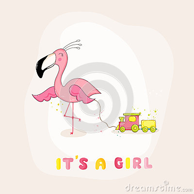 Free Baby Shower Or Arrival Card - Baby Flamingo Girl Royalty Free Stock Image - 79170136