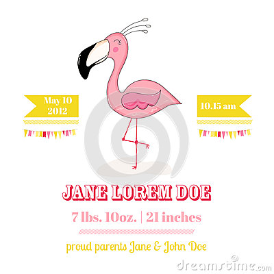 Free Baby Shower Or Arrival Card - Baby Flamingo Girl Stock Images - 79170194
