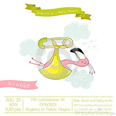 Free Baby Shower Or Arrival Card - Baby Flamingo Girl Royalty Free Stock Photos - 79170618