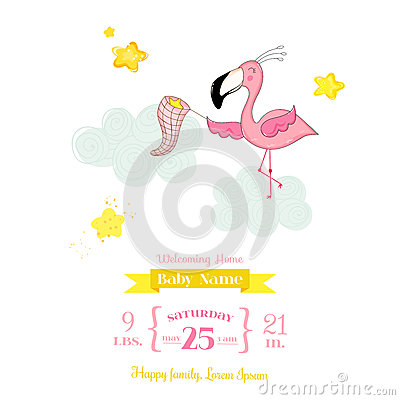 Free Baby Shower Or Arrival Card - Baby Flamingo Girl Catching Stars Stock Photos - 79170103