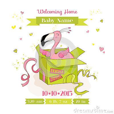 Free Baby Shower Or Arrival Card - Baby Flamingo Girl In A Box Royalty Free Stock Images - 79170129