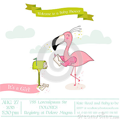 Free Baby Shower Or Arrival Card - Baby Flamingo Girl Sending Mail Royalty Free Stock Photography - 79170137
