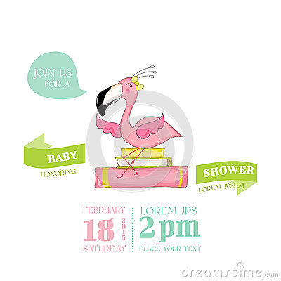Free Baby Shower Or Arrival Card - Baby Flamingo Girl Sitting On Books Royalty Free Stock Images - 79170139
