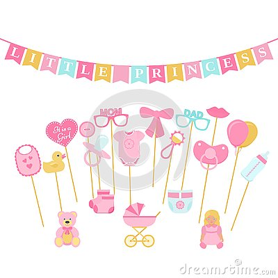 Free Baby Shower Photo Booth Props. Vector Illustration. Birth Reveal Royalty Free Stock Image - 128694366