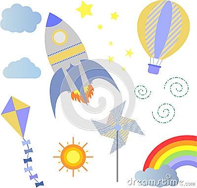 Baby shower rocket balloon kite wind vane Cartoon Illustration
