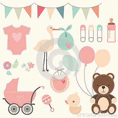 Free Baby Shower Set Stock Photography - 60892322