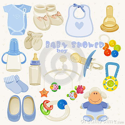 baby shower set in blue colors for boy stock vector image 54458178