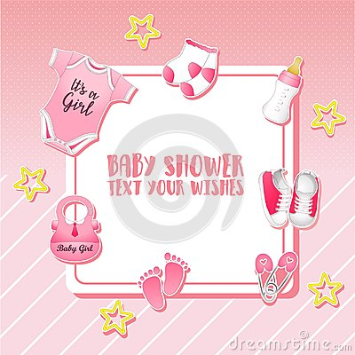Free Baby Shower Set. Invitation Template With Place For Text Royalty Free Stock Photo - 111695425