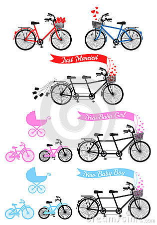 Free Baby Shower With Tandem Bicycle, Vector Set Stock Photo - 46212060