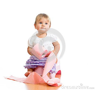 Free Baby Sitting On Chamber Pot With Toilet Paper Royalty Free Stock Photo - 26620965