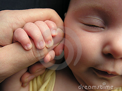 Baby sleep with father s finger