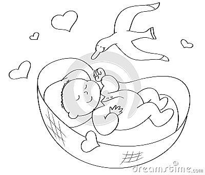 Coloring Baby Sleeping Stock Image - Image: 6584971