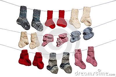 Baby socks on white background
