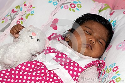 Baby and soft toy
