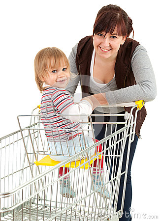 Baby son in trolley with mother taking shopping