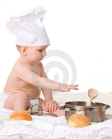 Baby, spoon, pot and bread isolated