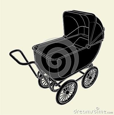 Baby Stroller Vector 02