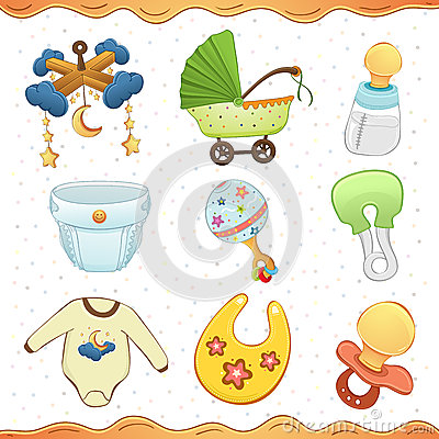 Baby Stuff Cartoon Icon Collection Royalty Free Stock