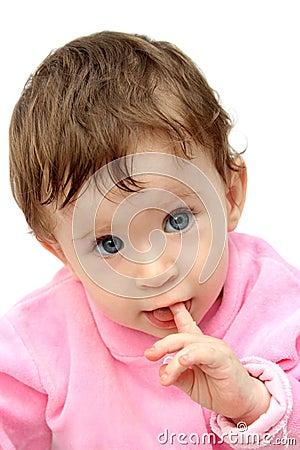 Baby sucking fingers portrait