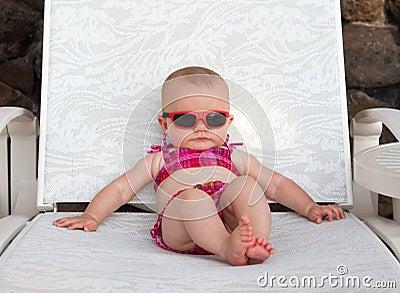 Baby sunbathing