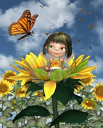 Free Baby Sunflower Fairy With Summer Background Royalty Free Stock Images - 15249649