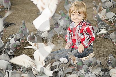 Baby Surrounded by Doves