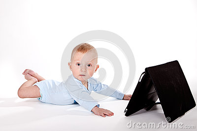 Baby with tablet