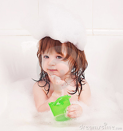 Free Baby Taking A Bath Stock Image - 24105511