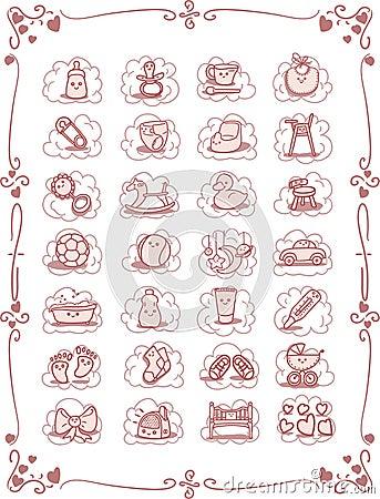 Baby Theme Cartoon Icons