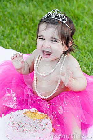 Free Baby Toddler Girl In First Birthday Anniversary Party Stock Photography - 102883472