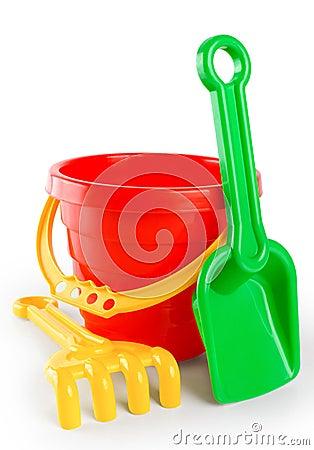 Free Baby Toy Bucket And Shovel Rake Royalty Free Stock Photos - 54381658