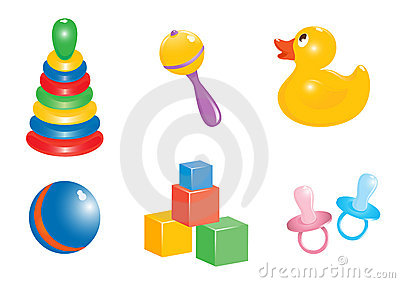 Baby toy icon set